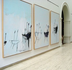 A Cy Twombly installation of abstract art.