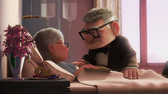 The first five minutes of Up are a guaranteed tear-jerker for my sister. Image  Disney.