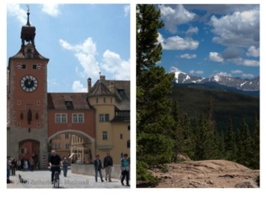 Looking at pictures of urban environments (left) does not help restore attention, but looking at pictures of nature (right) does. Photographs by K. Blackwell.